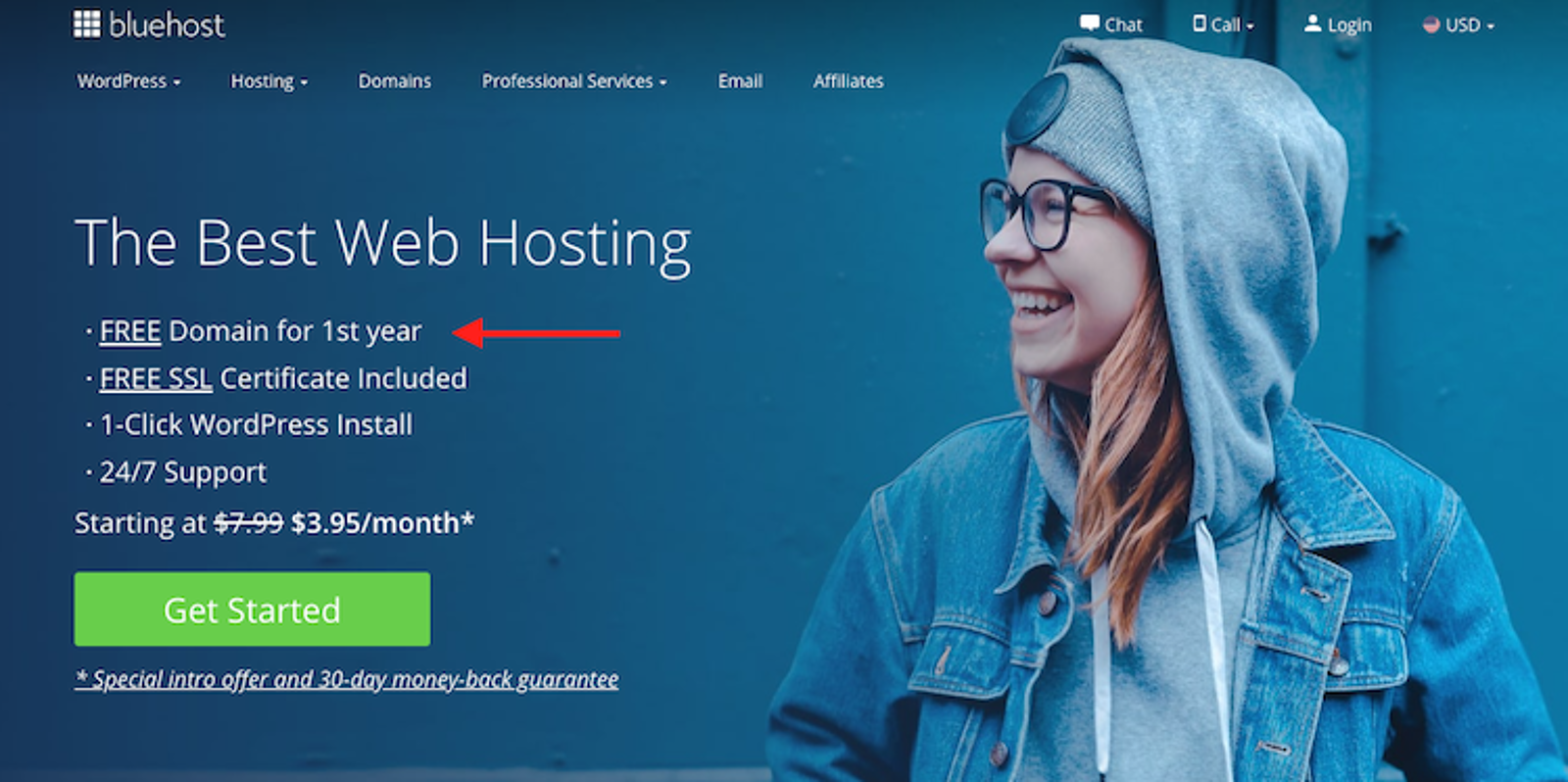 Bluehost.com landing page