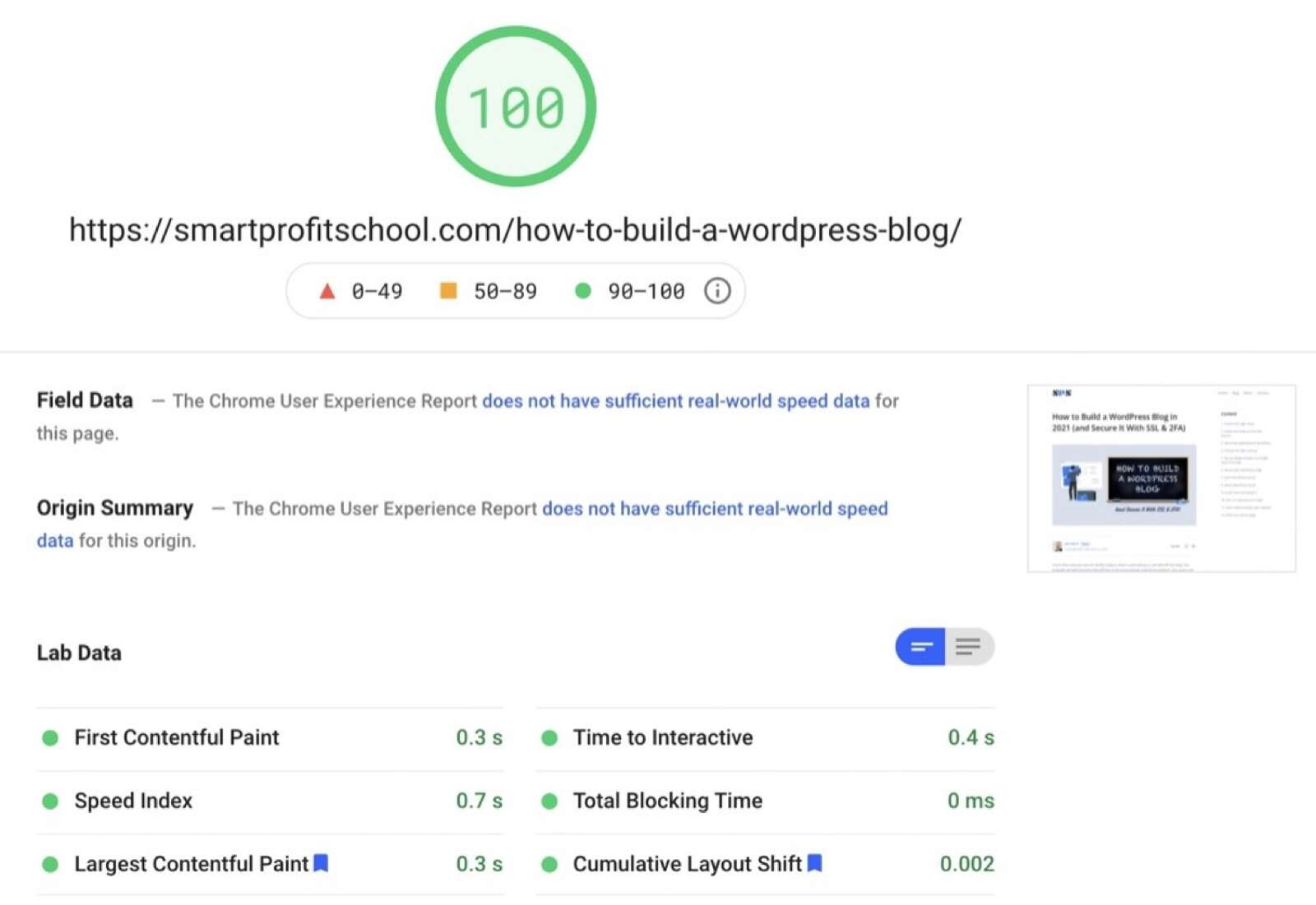 PageSpeed Insights Results for smartprofitschool.com
