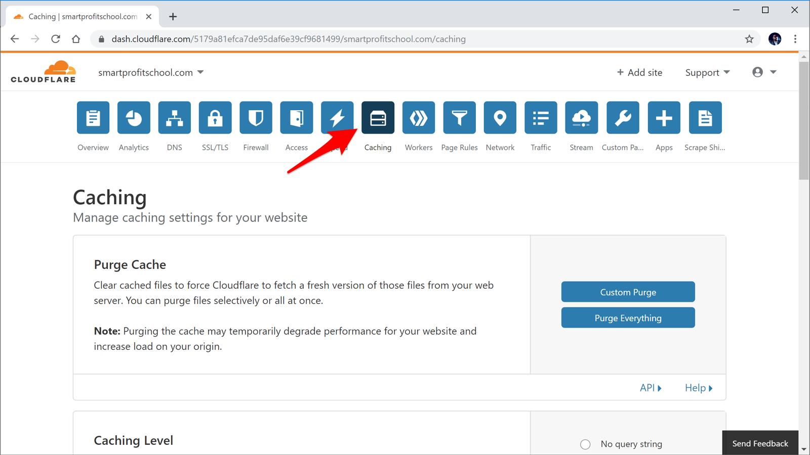 Cloudflare purge cache