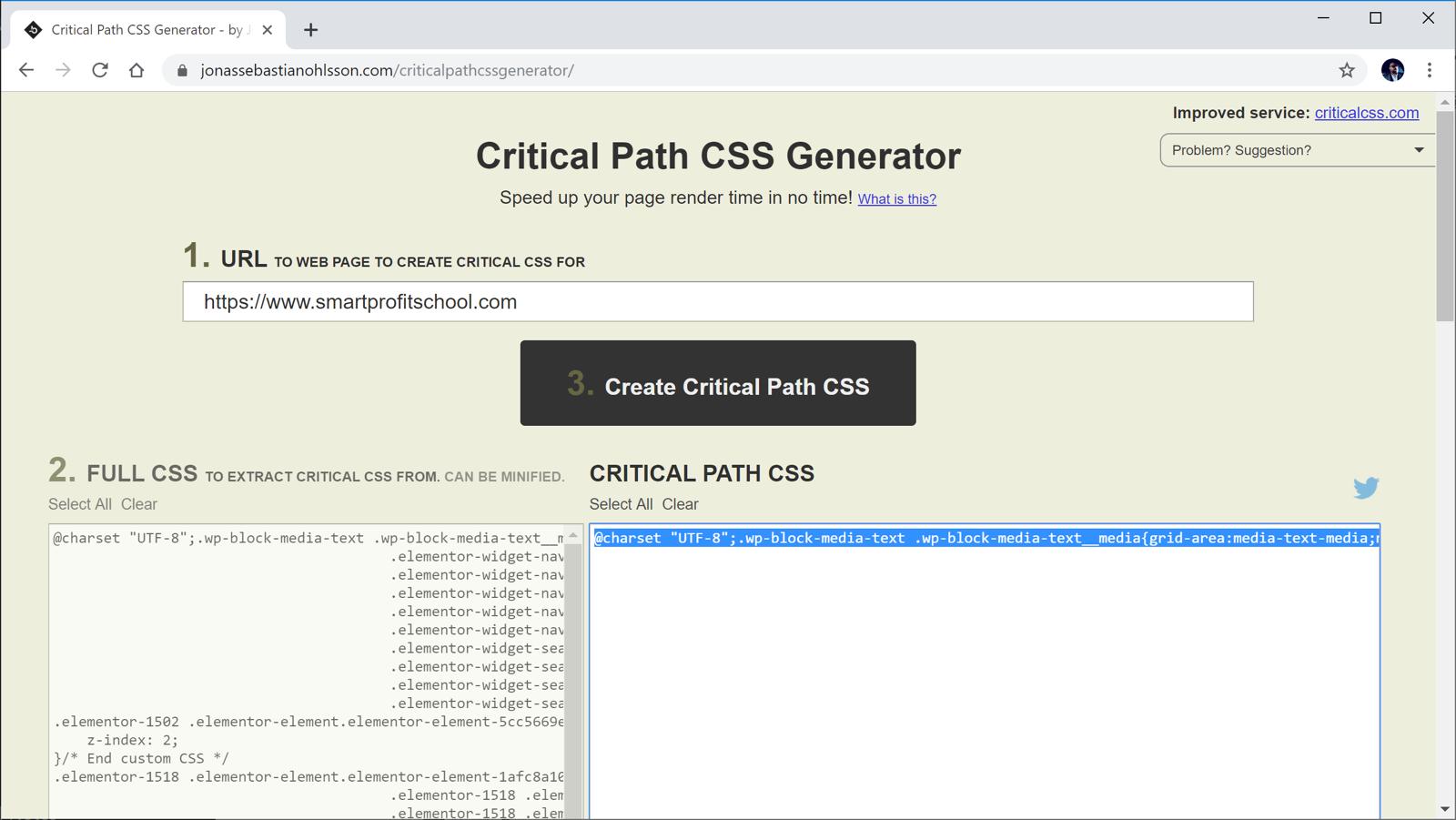 Critical Path CSS Generator - critical CSS