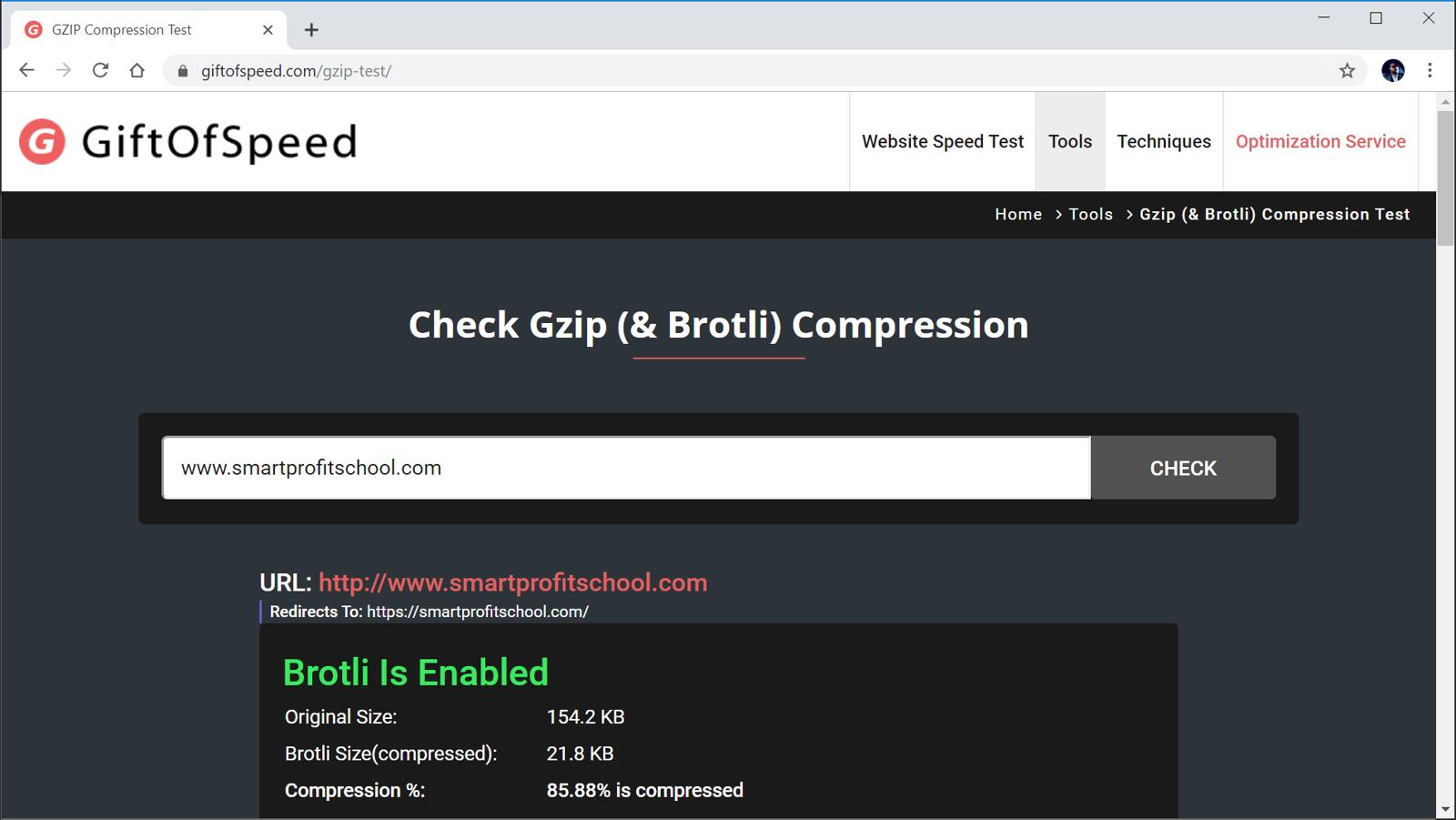 Testing Gzip compression
