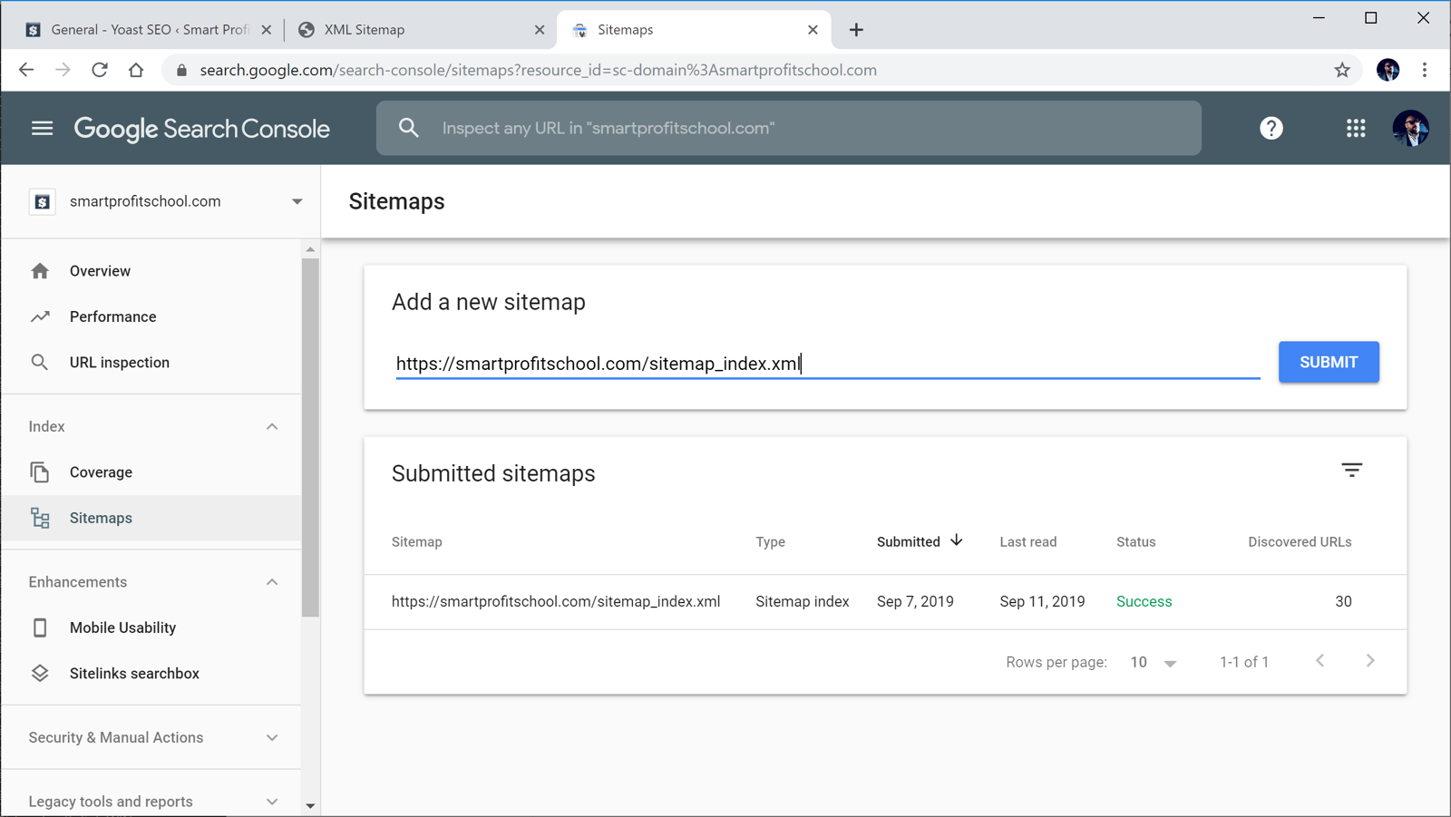 Submitting sitemaps to Google Search Console