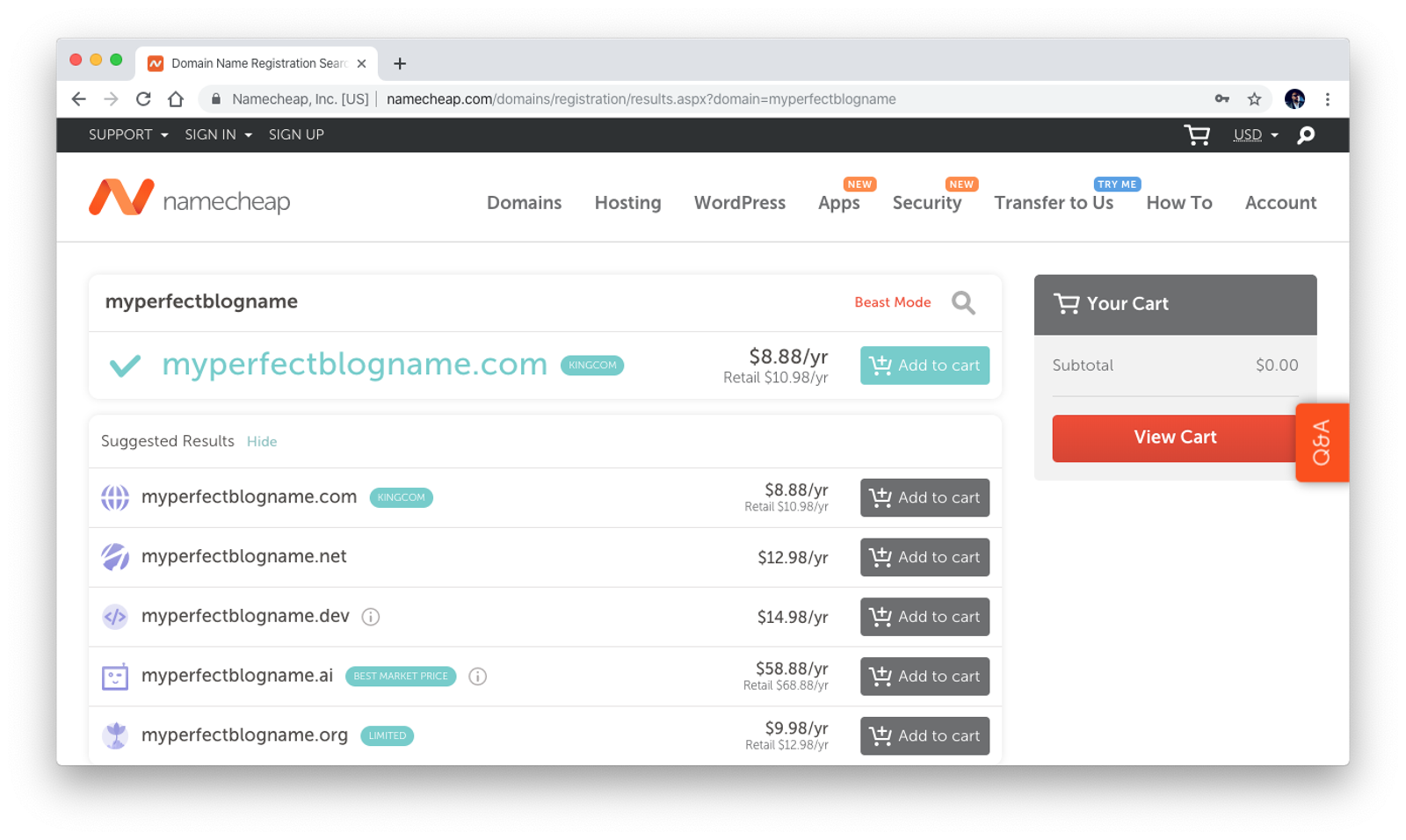 Domain Name Registration with Namecheap