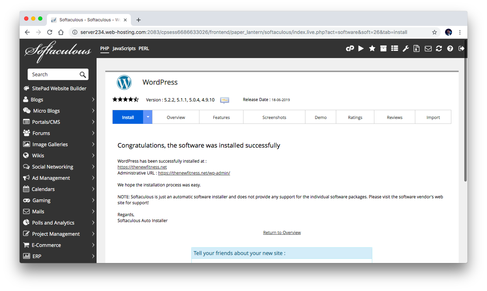 WordPress has been installed