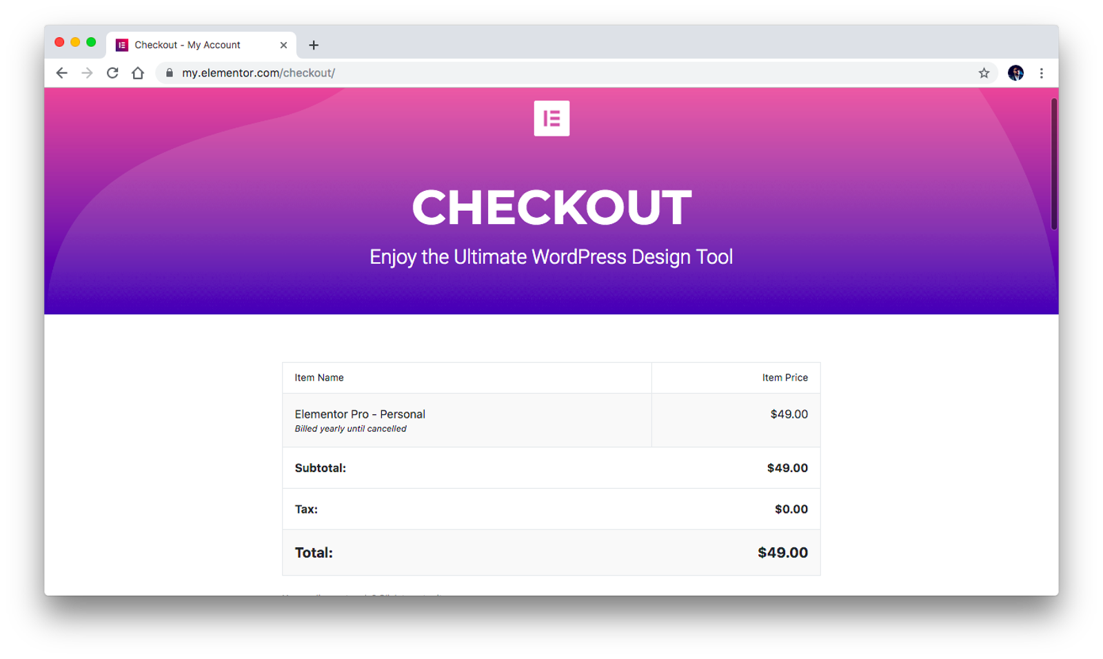 Elementor checkout
