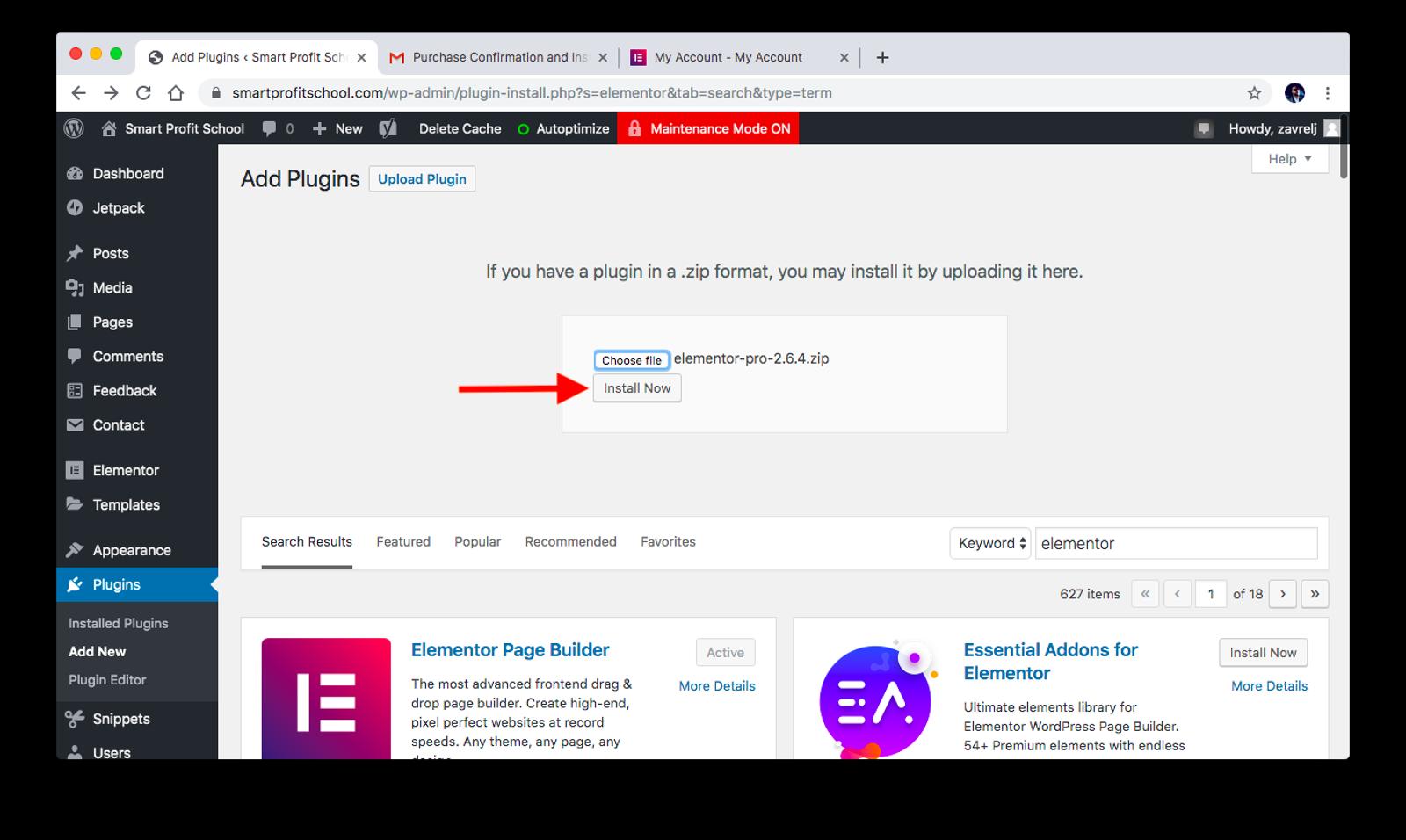 Elementor Pro plugin installation