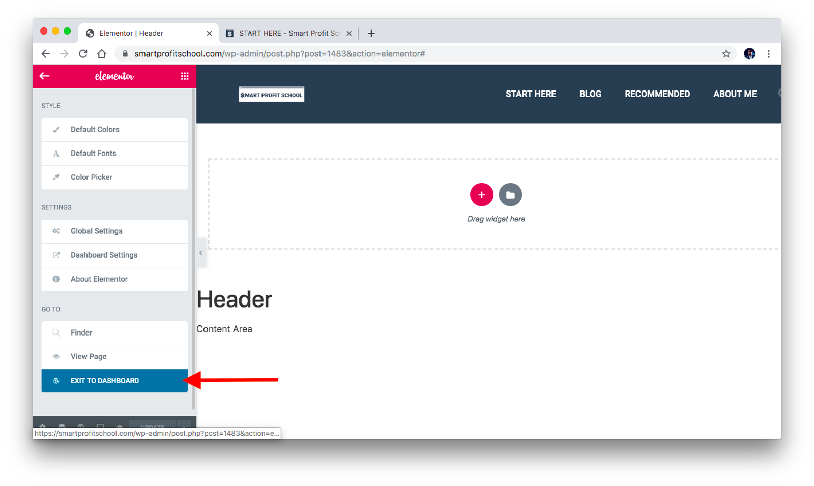 Exit from header to Dashboard
