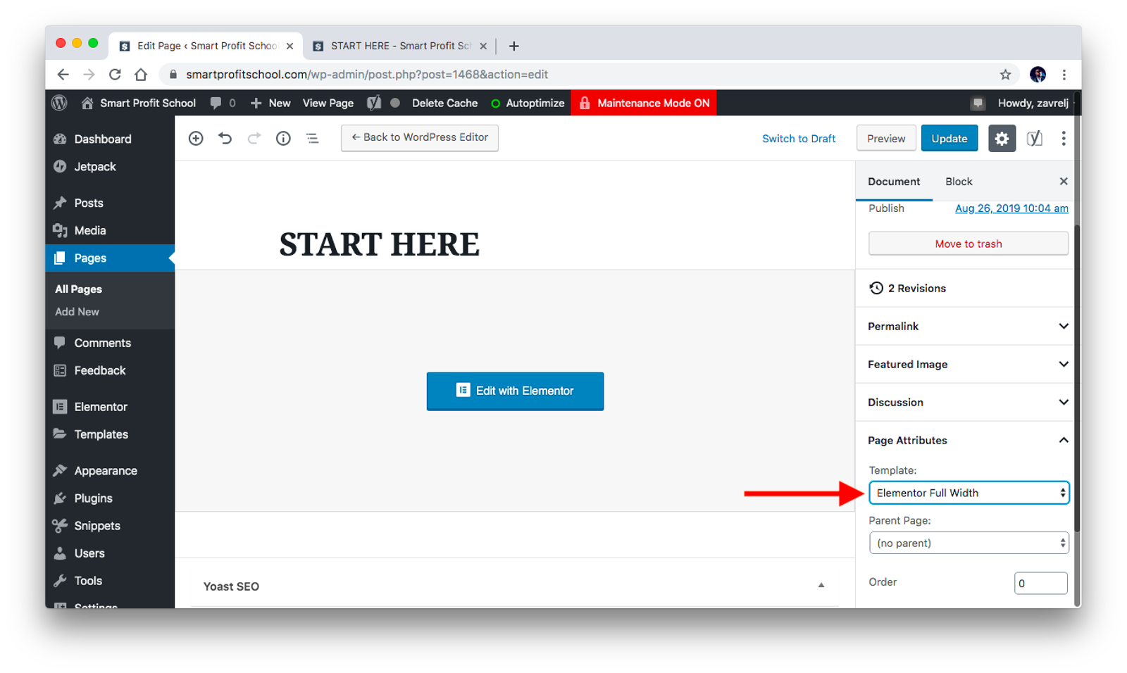 Start Here page attributes