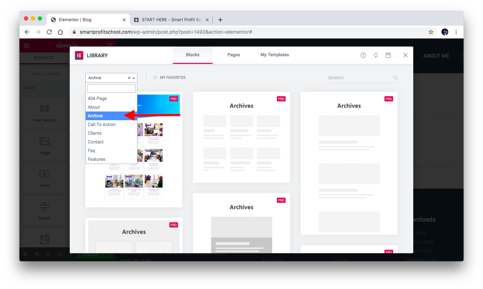 Blog as archive template