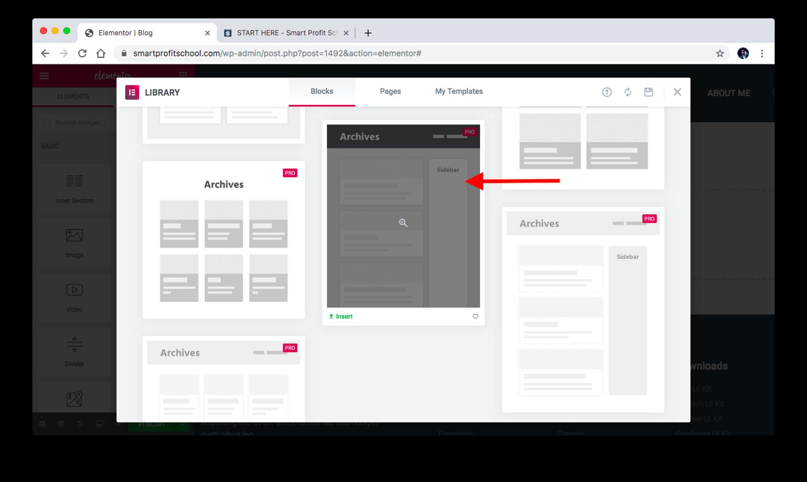 Choosing archive blog template