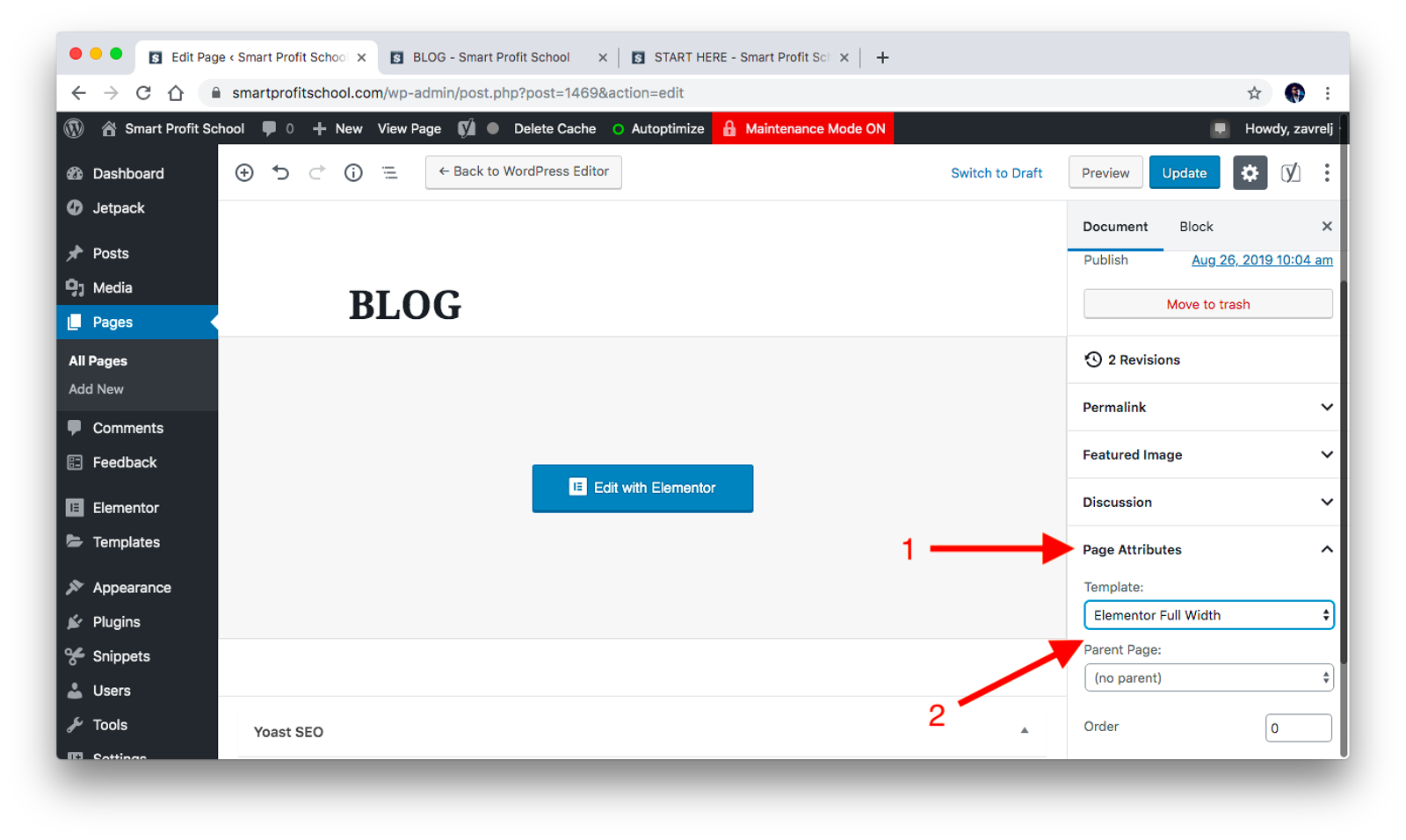 Blog page attributes