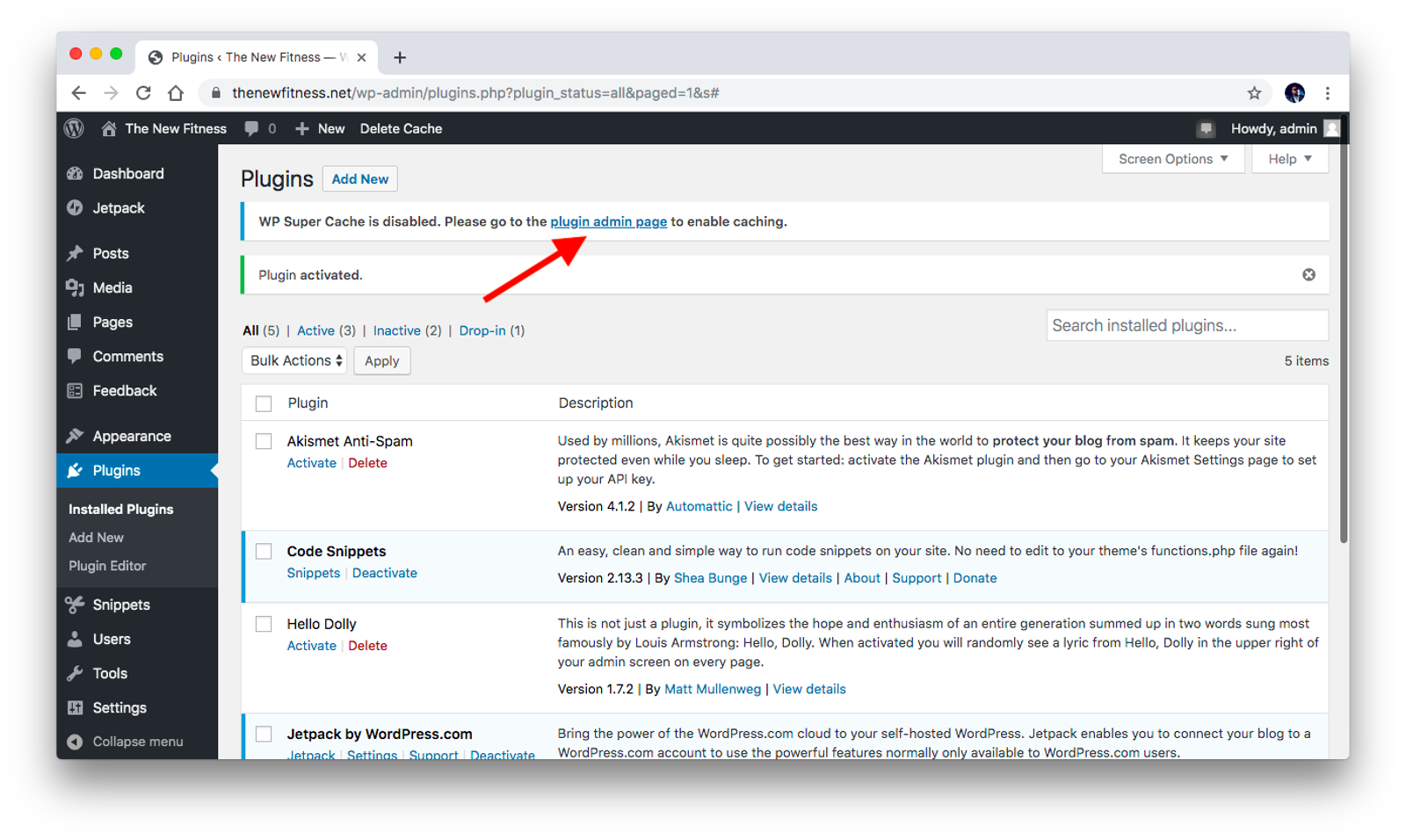 Go to plugin admin page